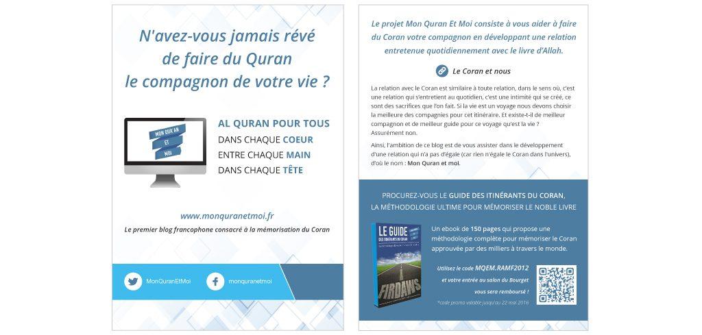 Création flyer Mon Quran et Moi